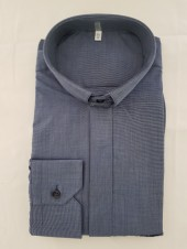 CAMICIA CLERGY FILO COTONE MAN. LUNG. BLUETTO TG. 40