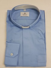 CAMICIA CLERGY COTONE 100% MAN. LUNG. CELESTE TG. 42