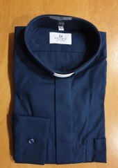 CAMICIA CLERGY COTONE 100% MAN. LUNG. BLU TG. 42