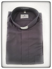 CAMICIA CLERGY COTONE GRIGIA MAN. LUNG. TG. 41